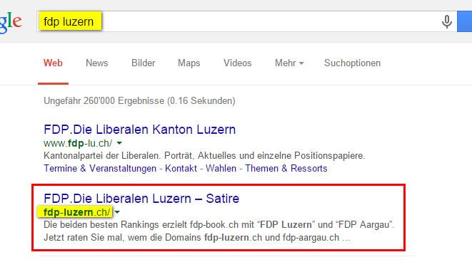 FDP Luzern Google 2. Platz