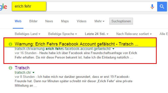 Facebook Erich Fehr Konto kopiert