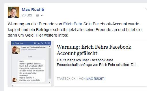 Facebook Erich Fehr Warnung