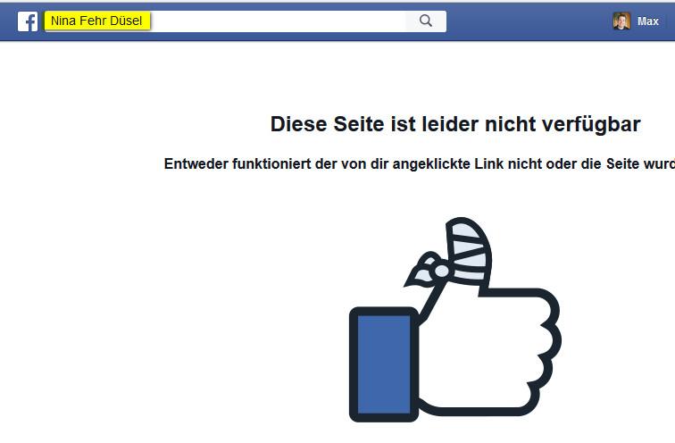 Nina Fehr Düsel Facebook geblockt